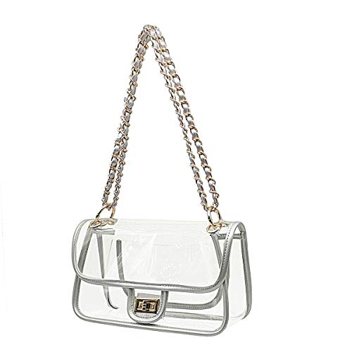 Laynos Clear Purse Turn Lock NFL Approved Chain Waterproof Crossbody Shoulder Bags Handbags Silver