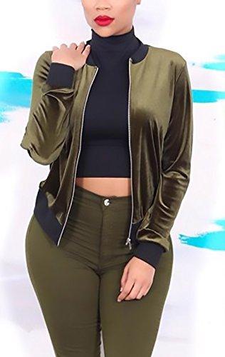Invernali Manica Donna Giacche Abbigliamento Giubbino La Classica Corta Giubbotto Verde Slim Baseball Lunga Zip Outerwear Tutine Fit Con Bomber Velluto Moda Giacca Autunno Women Cappotto Elegante Vintage rqvSYvtx