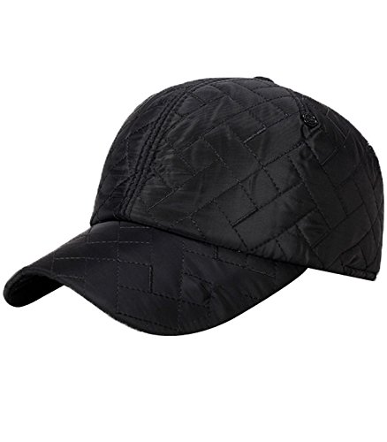 JOKHOO Men's Cold Weather Windproof Ball Cap with Earflap (Black, One (Cold Weather Ball Cap)