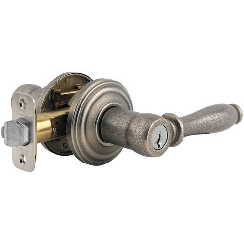 Kwikset TS92004BN 740ADL Signature Series Ashfield Keyed Entry Single Cylinder Door Levers, Rustic Pewter by Kwikset