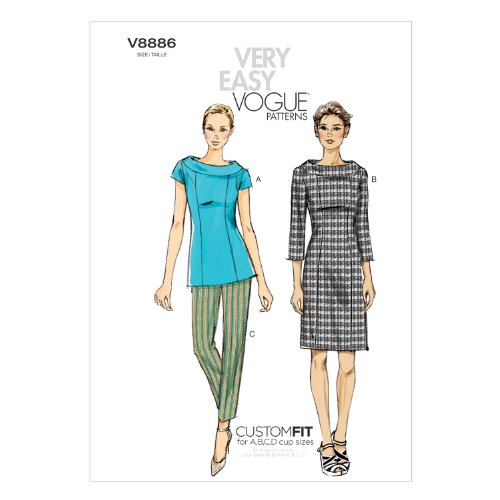 Vogue Patterns V8886 Misses' Top/Dress and Pants Sewing Template, Size F5 (16-18-20-22-24)
