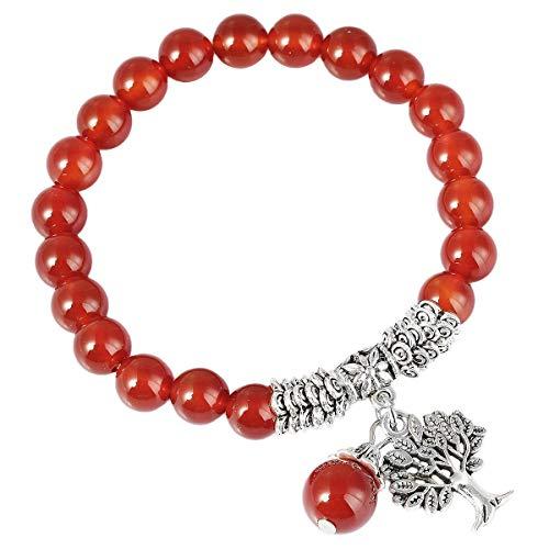 (SUNYIK Carnelian Stretch Bracelet, Handmade Tree of Life Lucky Pendant Bracelets for Women)