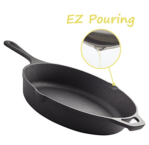 Pre-Seasoned Cast Iron Skillet – 12.5 Inch | Superb Heat Retention | Heavy Duty Nonstick Bakeware| Evenly Cooking | Nonstick Frying Pan | Rust Resistant | for Home Cooking & Commercial Kitchen by Homerware (Image #3)