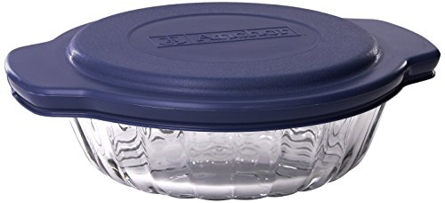 Dish 3 Piece Baking - Anchor Hocking 3-Piece 2-Quart Sculpted Baking Dish with Slate Blue Plastic Lid and Blue Tote.