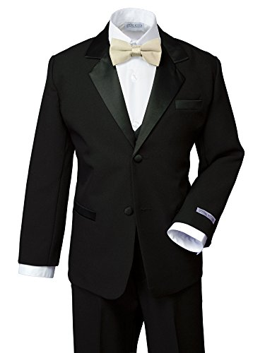 Spring Notion Boys' Classic Fit Tuxedo Set, No Tail 14 Black-Champagne