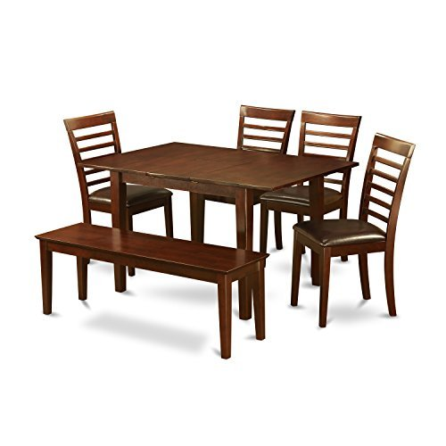 East West Furniture PSML6D-MAH-LC 6-Piece Kitchen Table Set, Mahogany (Dining Room Mahogany Bench)