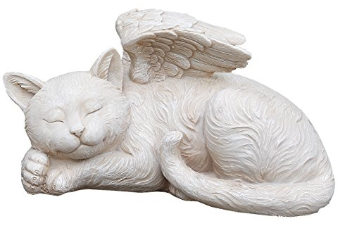 Cat Memorial Garden (Napco 11145 Sleeping Angel Cat with Wings Garden Statue, 9.75 x 5