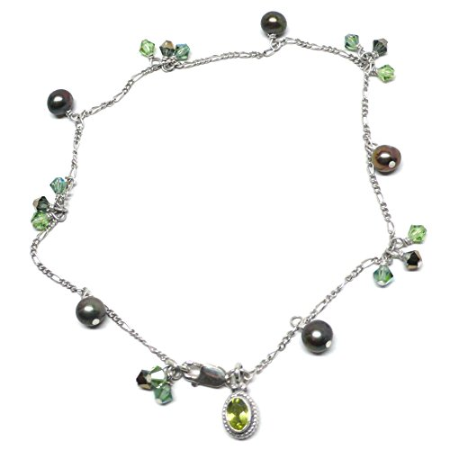Handcrafted Austrian Crystal Pearl - Peridot Charm Sterling Silver Chain Anklet Cultured Freshwater Pearl Austrian Crystal