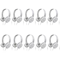 Panasonic Over-the-Ear Stereo Headphones RP-HF100M-W (White) Integrated Mic and Controller, Travel-Fold Design, Matt Finish (White (10-Pack))