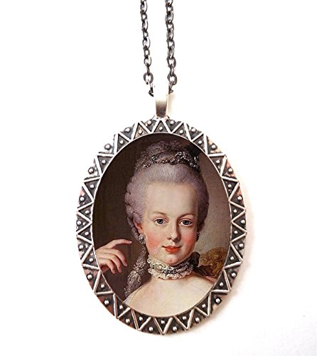 - Marie Antoinette Necklace Pendant Silver Tone French Revolution Queen Aristocrat Royalty