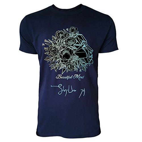SINUS ART ® Abstraktes Portrait einer Frau – Beautiful Mind Herren T-Shirts in Navy Blau Fun Shirt mit tollen Aufdruck