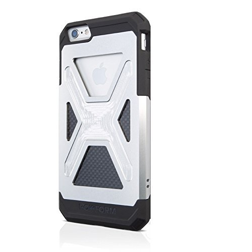 Rokform Fuzion iPhone 6/6s PLUS Aluminum & Carbon Fiber Dual Layer Protective Case. Made in USA (Clear Anodized AL)