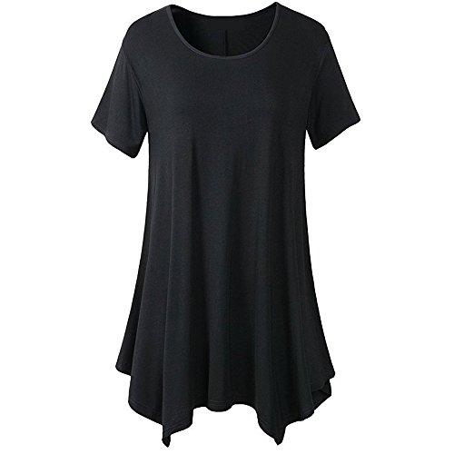 (Tops and Blouses for Women,Chaofanjiancai Ladies Short Sleeve O-Neck Tunic Shirts Irregular Hem Loose Casual Tee T-Shirt Tops Black)