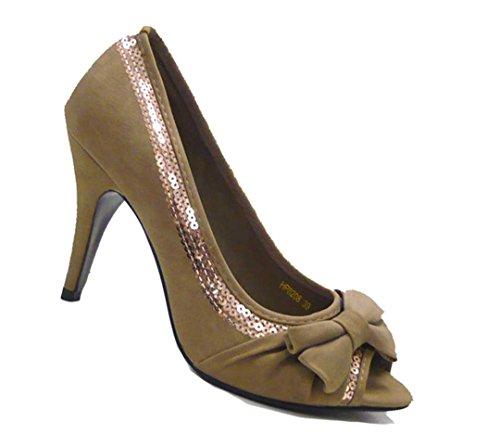 City Pumps Peep Schuhe Toes Schuh pailetten Damen Fashion Braun fwaxId