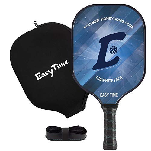 EasyTime Pickleball Paddle Graphite Pickleball Racket with Polypro Honeycomb Composite Core Paddles with Free Grip Strip & Racket Cover - Strip Ball