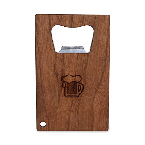 - WOODEN ACCESSORIES COMPANY Credit Card Sized Bottle Opener With Laser Engraved Beer Pint Design- Stainless Steel Bottle Opener With Wooden Front Panel - Slim And Wallet Size