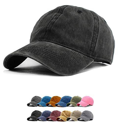 (Vintage Baseball Cap 100% Washed Twill Soft Cotton Adjustable Unisex Dad-Hat (Black))