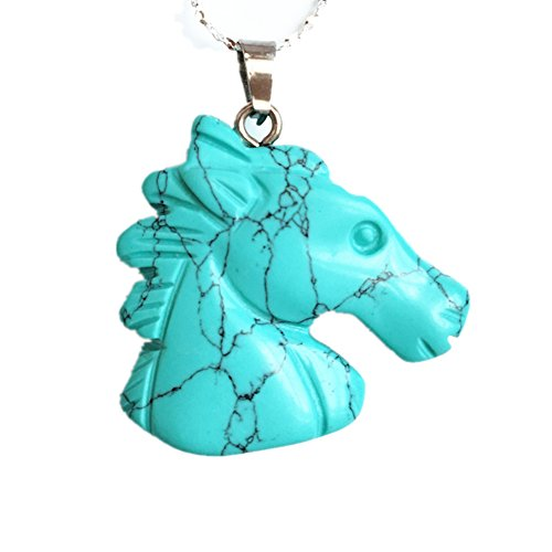Sanlyton Natural Turquoise Carving 3D horse Head Pendant 925 Sterling Silver Necklace