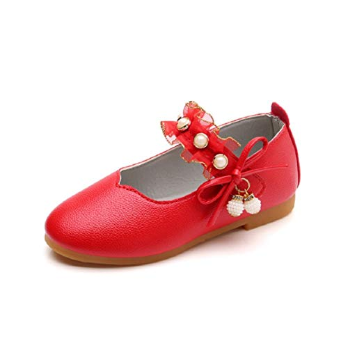 (Toddler Girls Mary Jane Flat Round Toe Princess Dress Shoes Kids Ballet Shoes Pearl Ballerina Flat (12M-12T) by Lowprofile Red )