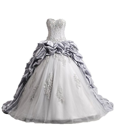 DKBridal Appliques Beaded Taffeta Quinceanera Dresses Prom Ball Gown Gray 20