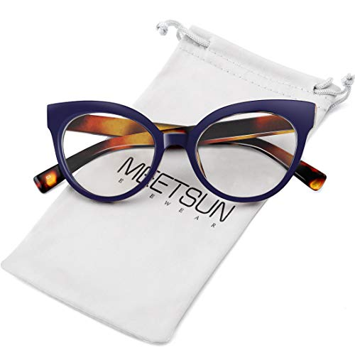 MEETSUN Womens Cat Eye Glasses Frame Fashion Designer Non Prescription Eyeglasses Clear Lens for ladies Blue Leopard Optical eyewear tortoise - Eye Cat Frame Glasses