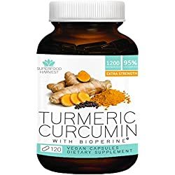 Organic Turmeric Curcumin with Bioperine® - 1200mg (120 Capsules) - Extra Strength Pain Relief & Joint Support Supplement - Non-GMO, Made in the USA