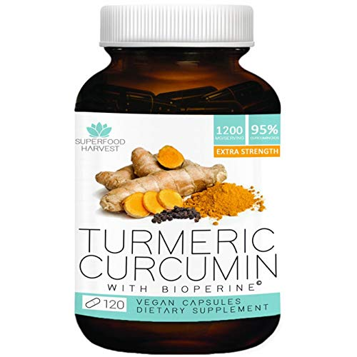 Organic Turmeric Curcumin with Bioperine® - 1200mg (120 Capsules) - Extra Strength Pain Relief & Joint Support Supplement - Non-GMO, Made in the (Best Curcumin Capsules With Bioperines)