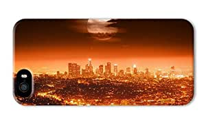 Do It Yourself DIY make iphone 5 cases Full moon USA Los Angeles night city lights cityscapes red style PC 3D for Apple iPhone 5/5S