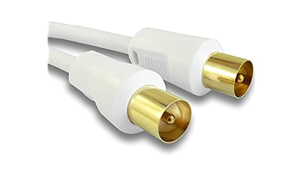 TechWareGames - Cable de televisión coaxial (macho a macho, 1 m), color blanco: Amazon.es: Electrónica