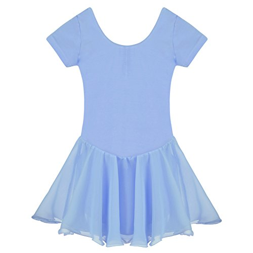 Arshiner Girls' Ruffle Sleeve Skirted Leotard, Blue 110 - Leotard Tutu