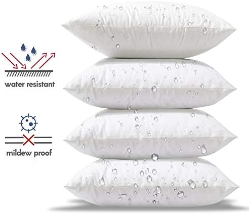 Phantoscope Premium Outdoor Pillow Inserts – Pack of 4 Square Form Decorative Throw Pillow Couch Sham Cushion Stuffer 20 x 20 inches- Water, Mildew, Dust Mite Resistant