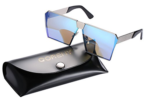 Sunglasses For Men Women Square Oversized Metal Frame Brand Designer (Silver frame/blue lens, As (Big Designer Sunglasses)
