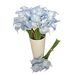 Calcifer10 Head Real Touch Calla Lily Bridal Latex Wedding Bouquet Flower Bouquets C (Light Blue) 82