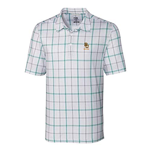 Ncaa Button Down Shirt - Cutter & Buck NCAA Baylor Bears Short Sleeve Gordon Plaid Print Polo, XX-Large, Hunter/Elemental Grey