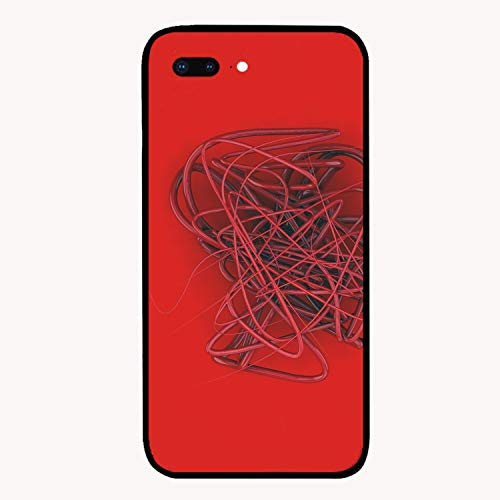 Female Spline - iPhone 7 Plus Case, Spline Wire Tangled Red Curls for Girls Women Best Protective Rubber Slim Fit Thin Phone Case Compatible for iPhone 7 Plus