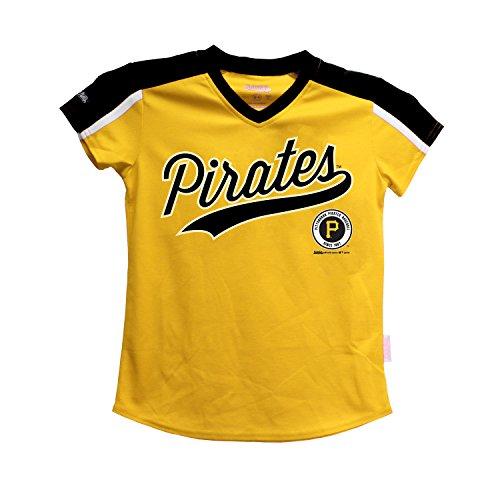 MLB Pittsburgh Pirates Girls V-Neck Jersey Top, Medium, (Mlb Kids Jerseys)
