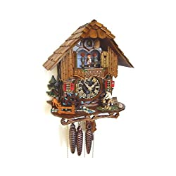 Cuckoo Clock Black Forest house with moving wood chopper and mill wheel