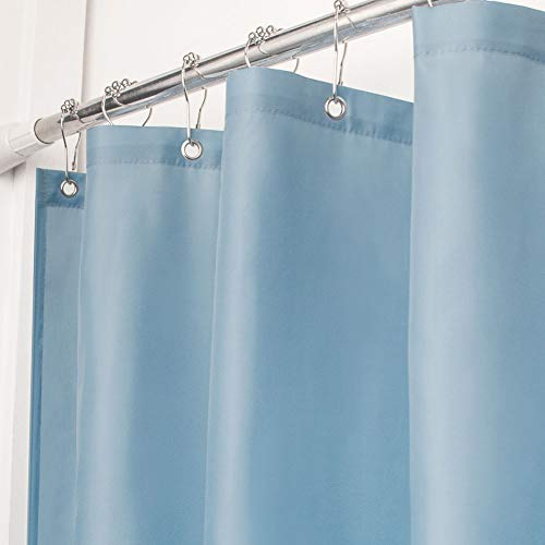 - VCVCOO Small Size Waterproof Polyester Shower Curtain or Liner, Soft Blue Fabric Stall Bath Curtain for Bathroom with Rust Proof Grommets Machine Washable 36x72 inch