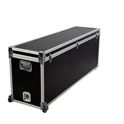 Vispronet Black Utility Trunk, 63in x 24in x 16in Road Case, Made with Fireproof Plastic Wood, Aluminum Frame with Chromed Corners, 5mm Black PVC Foam Interior, Holds up to 200lbs