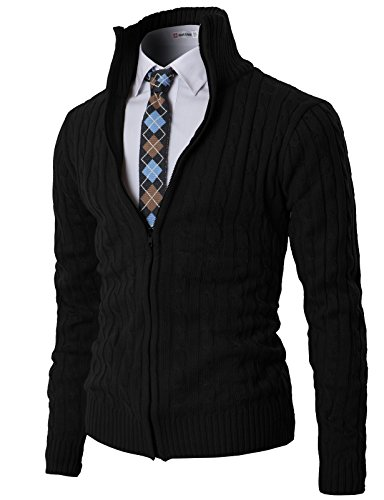H2H Mens Casual Knited Cardigan Zip UP with Twisted Pattern Black US S/Asia XL (KMOCAL017) by H2H (Image #1)