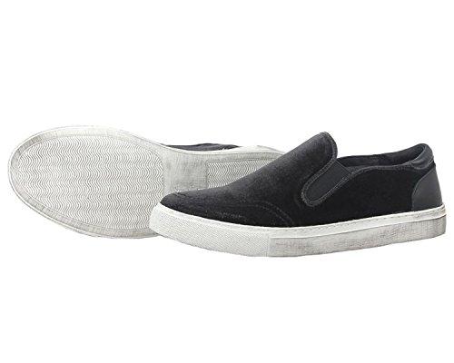 Santimon Herenmode Sneaker Fluweel Chelsea Casual Instappers Slip-on Zwart