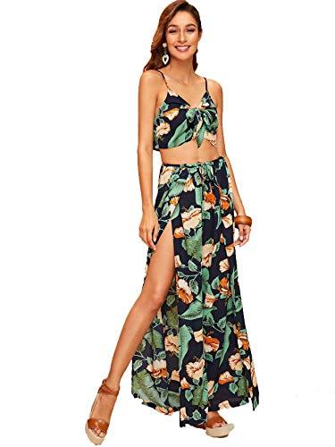Wrap Front Pant - SweatyRocks Women's Floral Print Knot Front Cami Jumpsuit High Split Pants Sets Green M