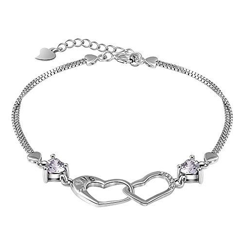 [mis] Double Strand Interlocking Love Heart Purple Crystal Bracelet Jewelry for Women and Girls (Interlocking Hearts Bracelet)