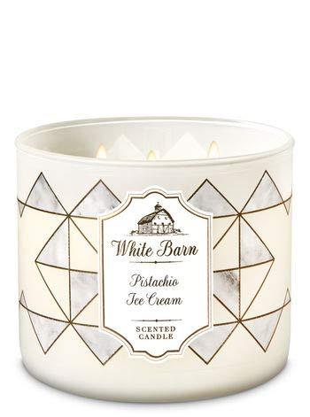 Ice Cream Scented Candle - White Barn Bath & Body Works 3 Wick Candle Pistachio Ice Cream