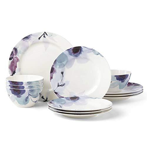Lenox 885148 Indigo Watercolor Floral 12 Piece Dinnerware Set (Purple Dinnerware Floral)