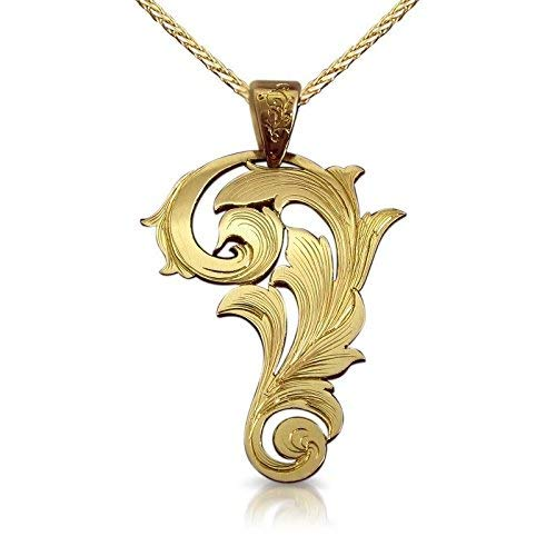 Unique Vintage-Style Scroll Pendant for Women in Solid 14k Yellow, White or Rose Gold, Modern Artisan Boho Jewelry