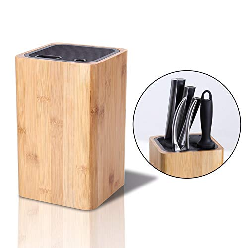 Deluxe Universal Knife Block with Slots for Scissors and Sharpening Rod - Eco-Friendly Bamboo Knife Holder For Safe, Space Saver Knives Storage - Unique Slot Design to Protect Blades - by KITCHENDAO