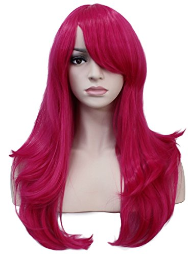 [Deifor 23 inch Long Big Wave Curly Heat Resistant Synthetic Hair Cosplay Wigs (2356# Hot Pink)] (Curly Hot Pink Wig)