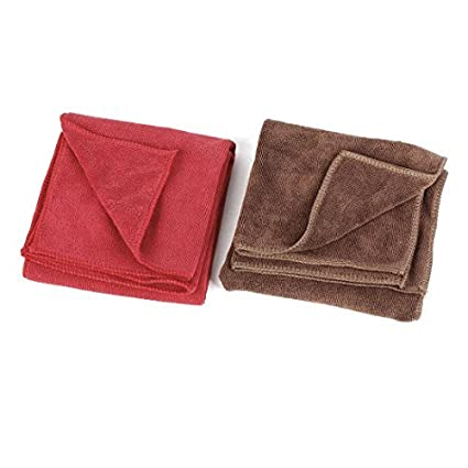 Amazon.com: eDealMax 2 piezas de 33cm x 65cm Toalla de algodón de coches Muebles de café roja del Color de limpieza: Automotive