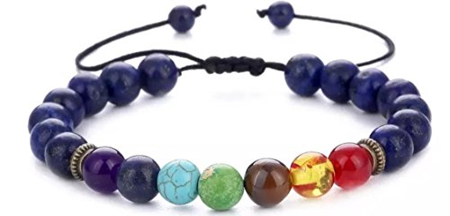 Lapis Center - 7 Chakras Bracelet Braided Rope - Tiger Eye - Leopard Charm Bracelet - Natural Stone - Men Women - Yoga Beads Bracelet Bangle Center Your Energy (8mm Lapis Lazuli)